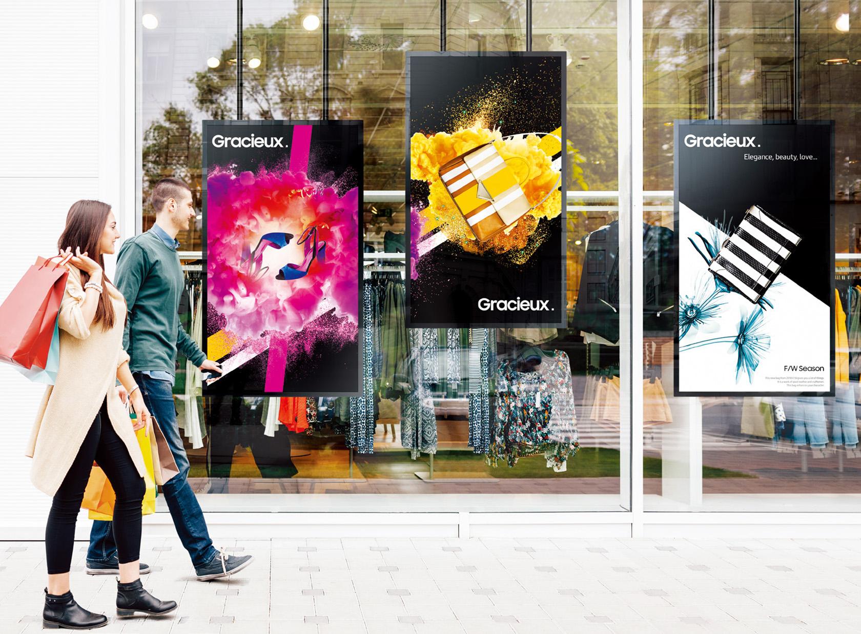 Schaufensterdisplays der Reihe Samsung Semi-Outdoor