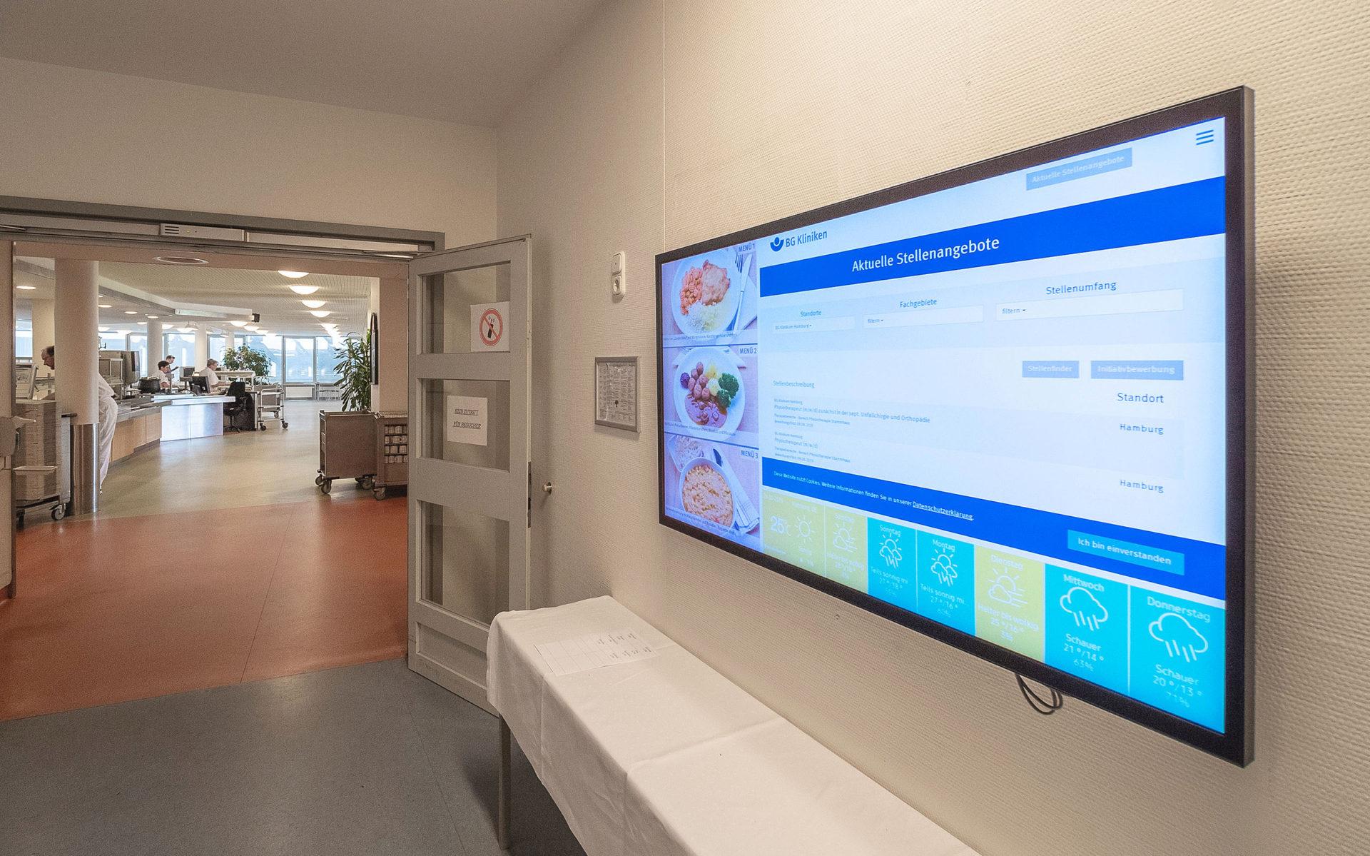 Digitaler Speiseplan in der Kantine des BG Klinikum Hamburg