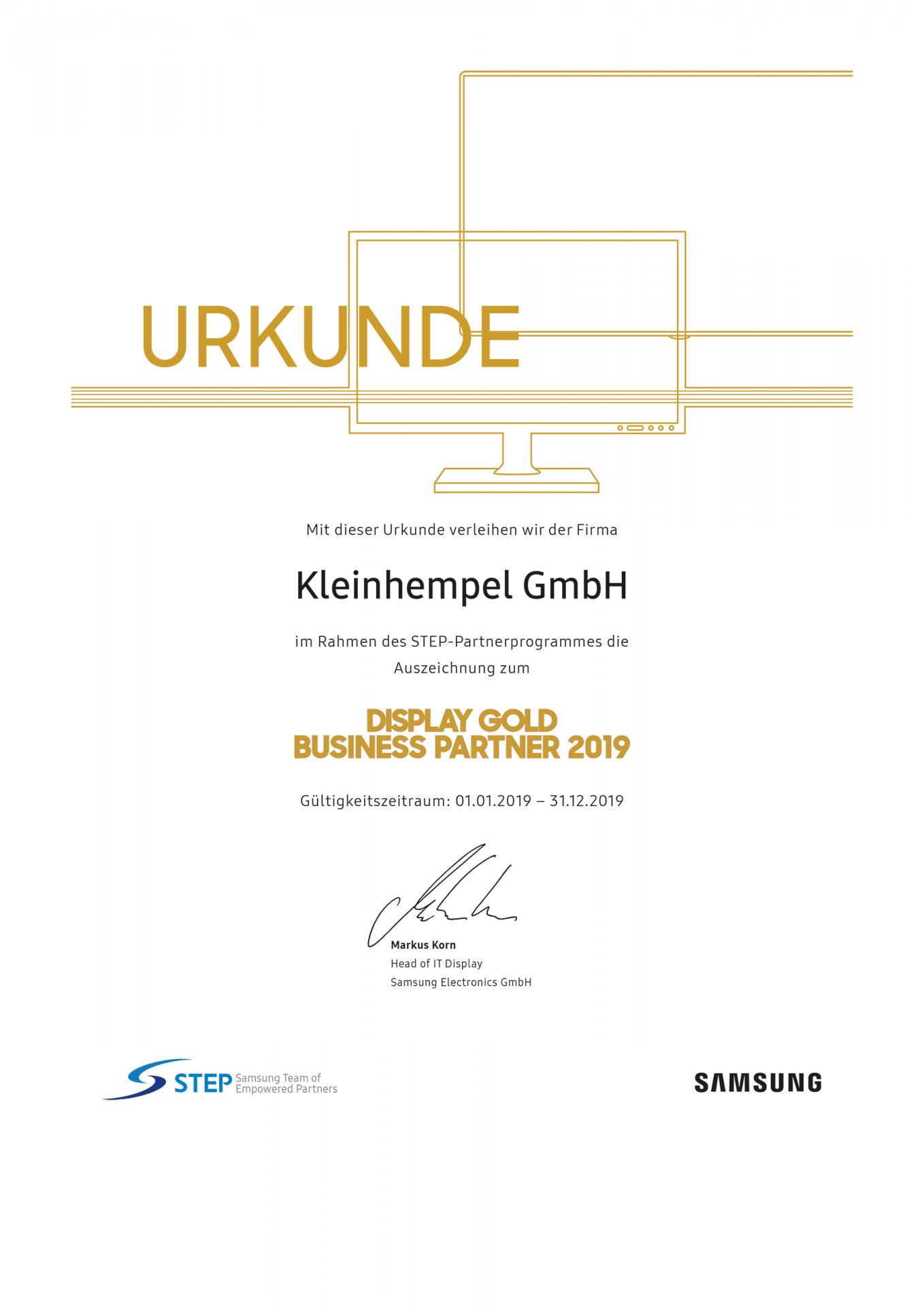 Urkunde über die Auszeichnung als Digital Signage-Spezialist