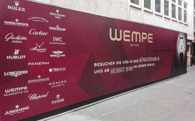 Bauzaunverkleidung als Sichtschutz für Wempe in Stuttgart