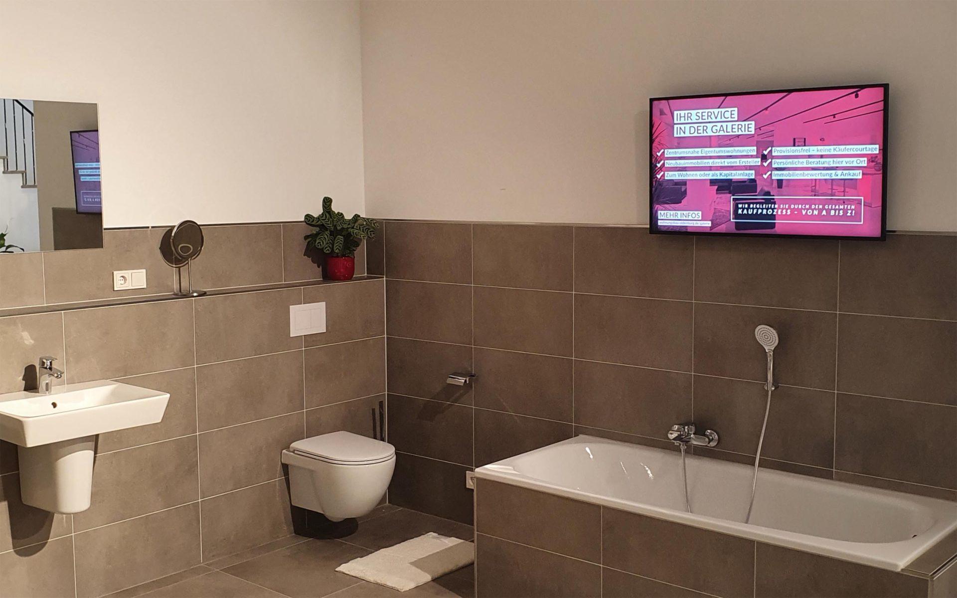 Digital Signage in einer Badausstellung