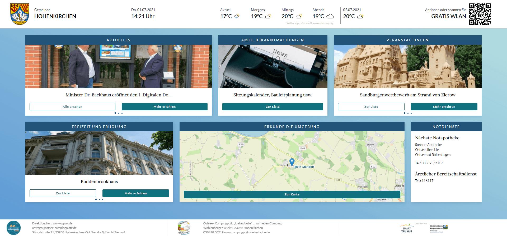 Screenshot vom ersten digitalen Dorfplatz Deutschlands in Hohenkirchen